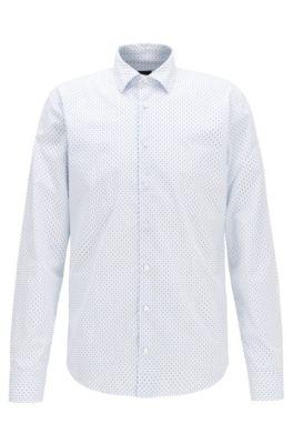 Camisa slim fit en algodón con patchwork microestampado, Azul