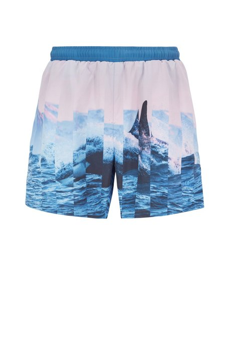 Quick-dry swim shorts with abstract photographic print, Blue
