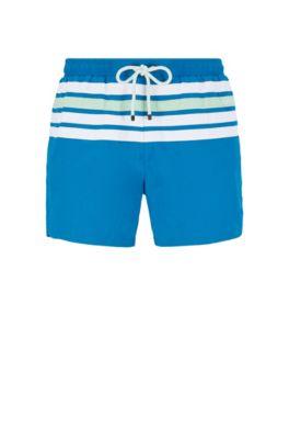 Sneldrogende zwemshort met aangebrachte strepen, Blauw