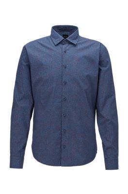 Chemise Slim Fit en coton à micromotif, Bleu foncé