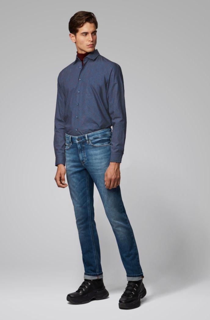 Camicia slim fit in cotone con micromotivo