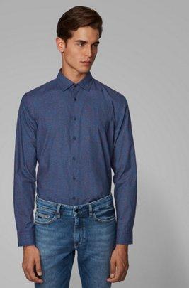 Camicia slim fit in cotone con micromotivo, Blu scuro