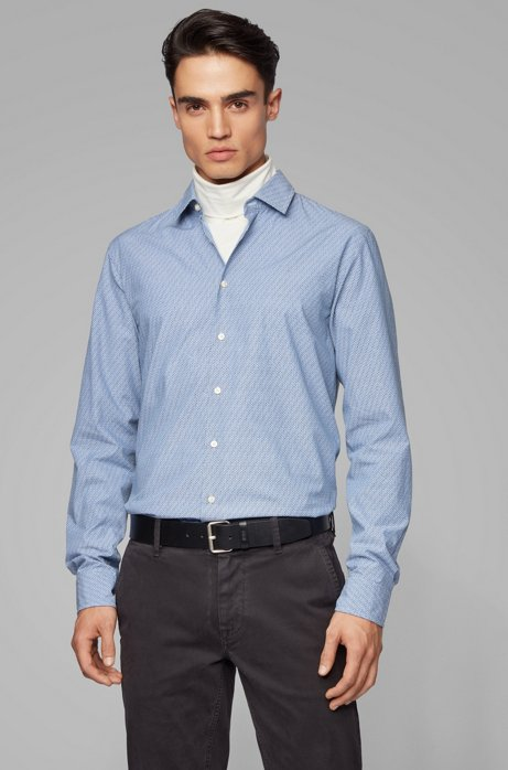 Slim-fit shirt in micro-patterned cotton, Blue