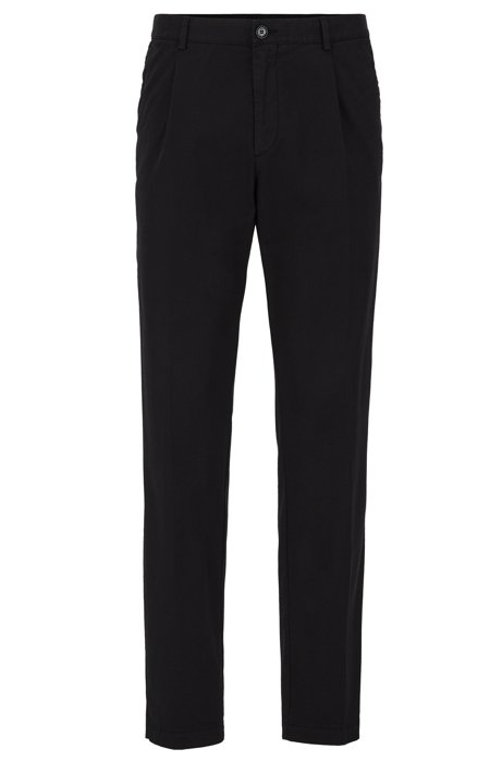 Pantalon Regular Fit plissé sur le devant, en gabardine stretch, Noir
