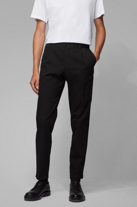 Regular-fit broek met geplooide voorkant in stretchgabardine, Zwart