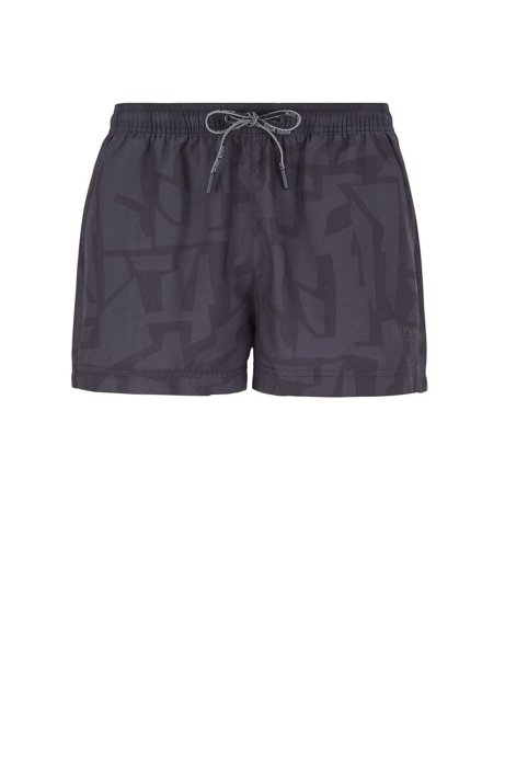 Quick-dry swim shorts with abstract print, Black