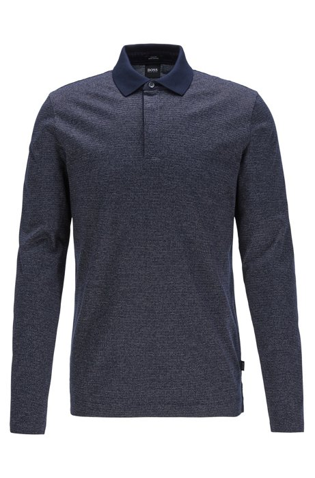 Slim-fit polo shirt in mercerised mouliné cotton, Dark Blue