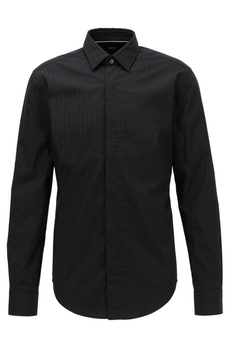 Slim-fit evening shirt in cotton with satin stripes, Black