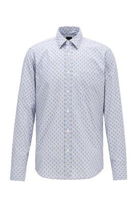 Camisa regular fit de algodón reciclable con microestampado, Azul