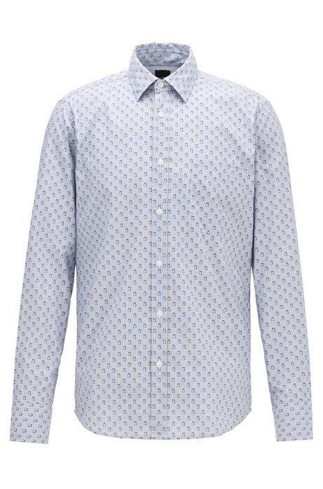 Regular-fit shirt in recyclable cotton with micro pattern, Blue