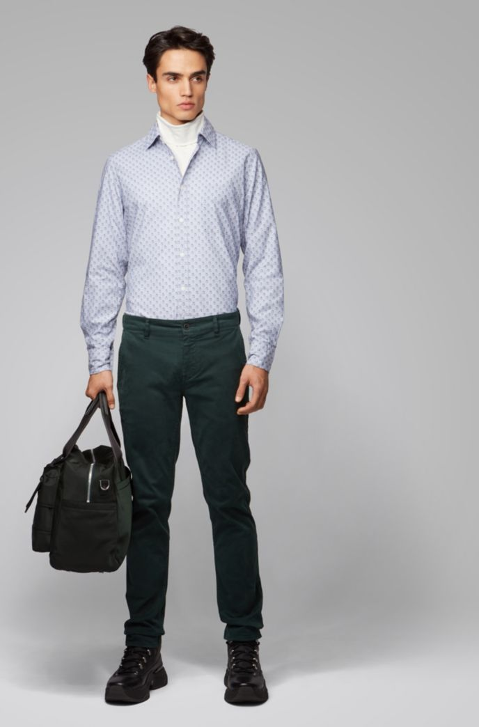 Regular-fit shirt in recyclable cotton with micro pattern