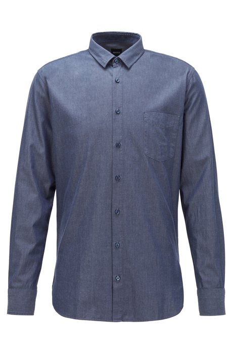 Slim-fit shirt in cotton with rounded cuffs, Dark Blue