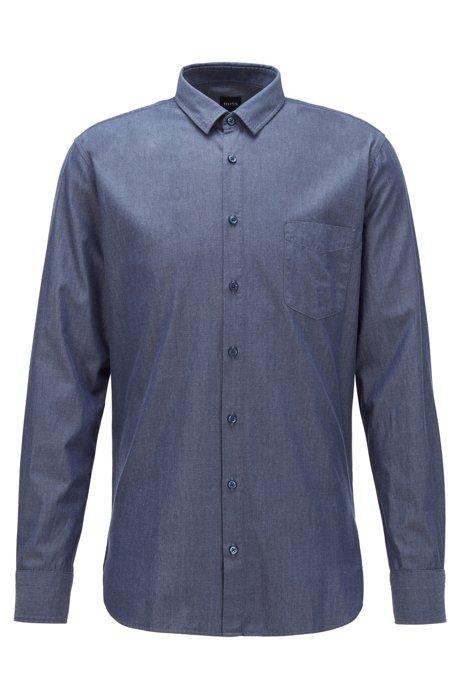 Slim-Fit Hemd aus Baumwolle mit abgerundeten Manschetten, Dunkelblau