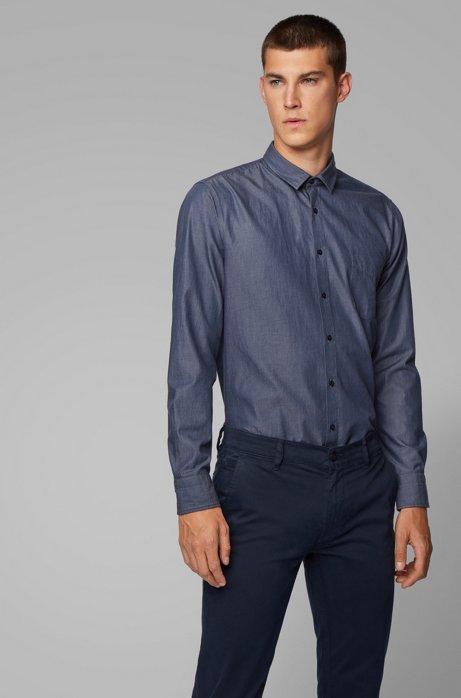 Chemise Slim Fit en coton à poignets arrondis, Bleu foncé