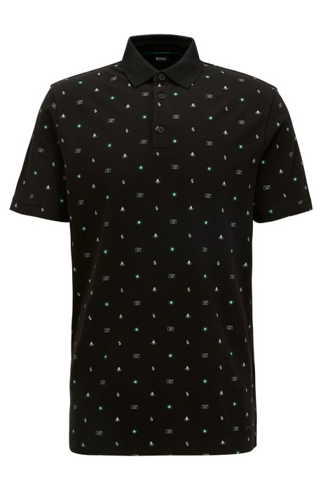 Regular-fit polo shirt with micro motifs, Black