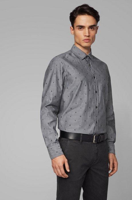 Regular-fit shirt in fil coupè cotton, Black