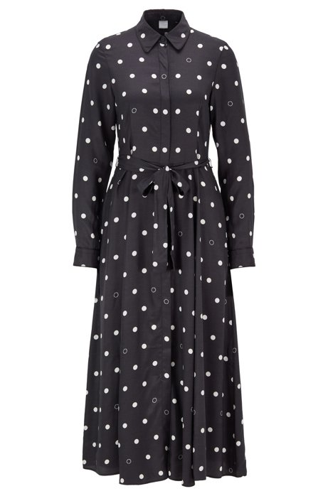 Belted shirt dress with polka-dot print, Patterned