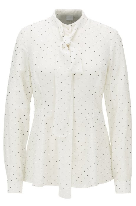 Slim-fit blouse met peplumtaille en afneembare stropdas, Bedrukt