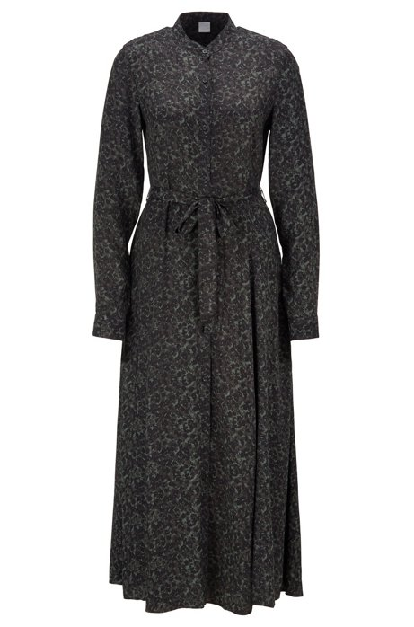Maxi shirt dress with all-over floral print, Patterned
