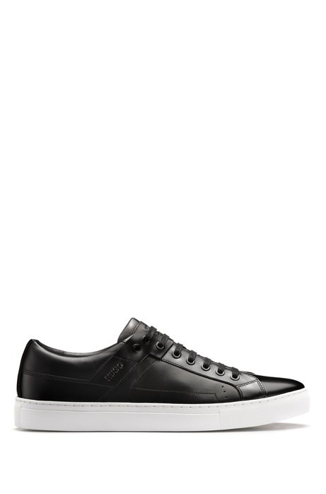 Tennis-style trainers in brush-off and nappa leather, Black