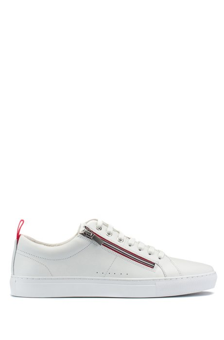 Low-top leather trainers with zip and lace closures, White