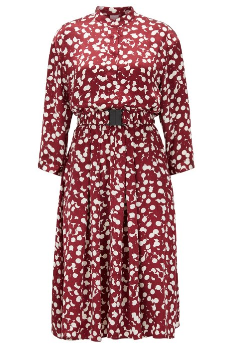 Polka-dot shirt dress with detachable belt, Patterned