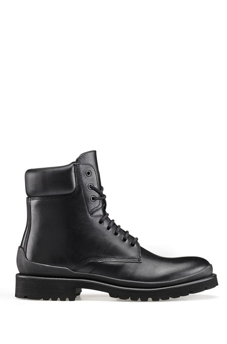 Ankle boots in matte leather with reversed-logo collar, Black