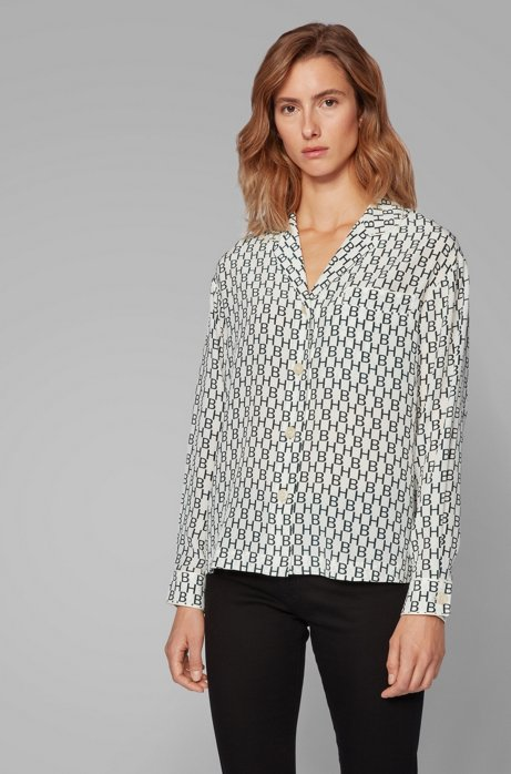 Pyjama-style blouse in logo-print silk, Patterned