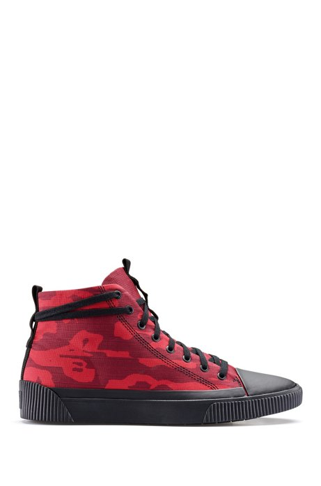 High-top trainers with seasonal camouflage pattern, Dark Red