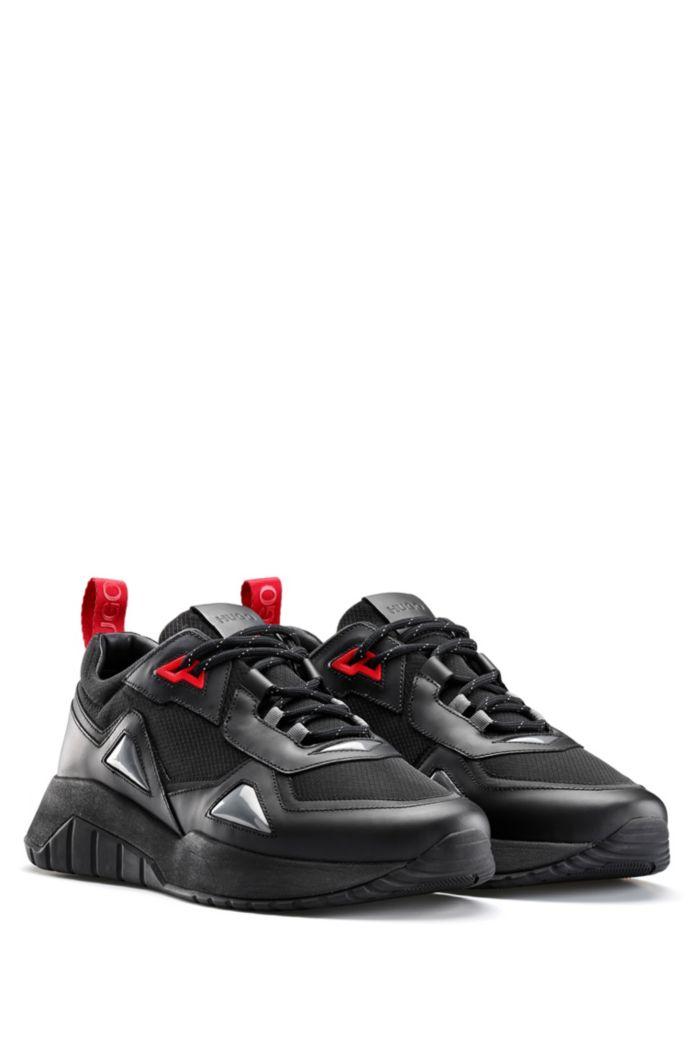 Sneakers aus Leder und Mesh im Laufschuh-Stil