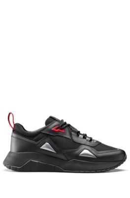 Sneakers aus Leder und Mesh im Laufschuh-Stil, Schwarz