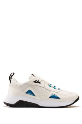 Running-inspired trainers with leather and mesh uppers, Open White