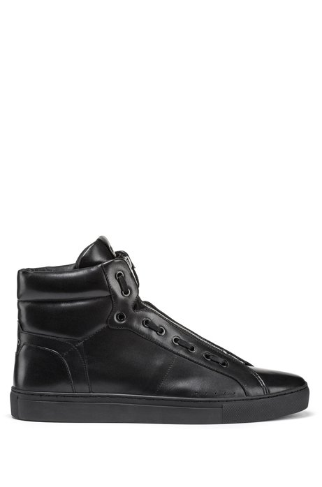 High-top trainers in nappa leather with zip closure, Black