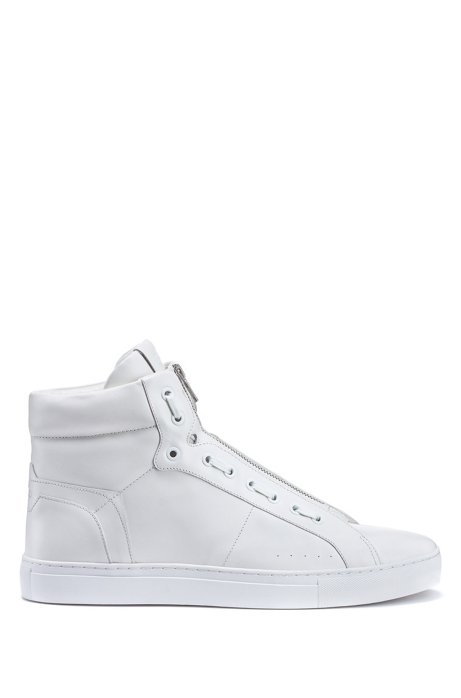 High-top trainers in nappa leather with zip closure, White
