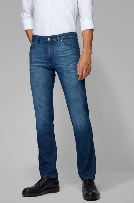 Regular-fit jeans in mid-blue Italian stretch denim, Blue