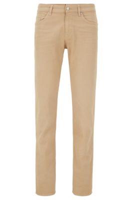 Jeans slim fit in denim italiano effetto cashmere, Beige