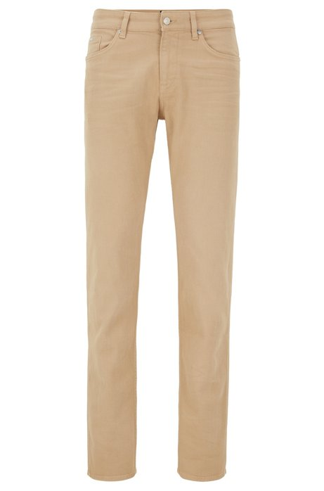 Vaqueros slim fit en denim italiano con tacto de cashmere, Beige