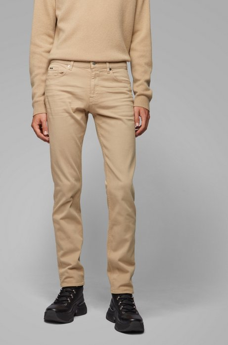 Slim-fit jeans van Italiaans denim met een kasjmierfeel, Beige