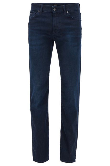 Regular-fit jeans in dark-blue Italian stretch denim, Dark Blue