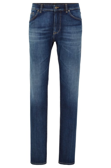 Vaqueros regular fit en denim italiano con tacto de cashmere, Azul