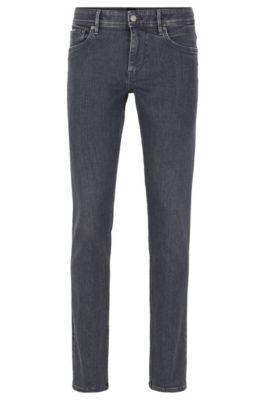 Jeans extra slim fit grigi in denim elasticizzato italiano, Grigio antracite