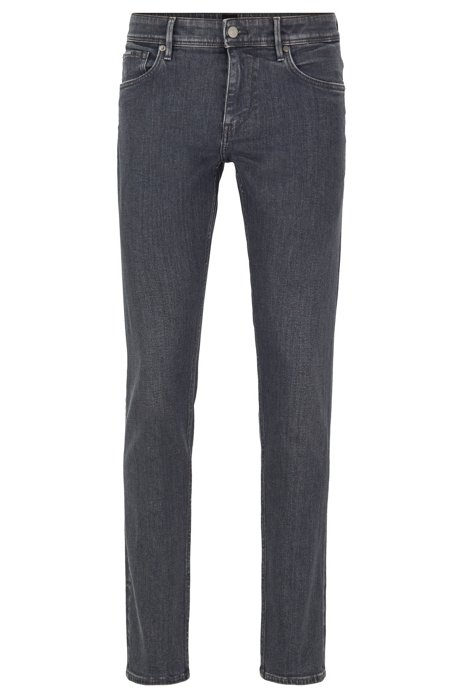 Extra-slim-fit grey jeans in Italian stretch denim, Anthracite
