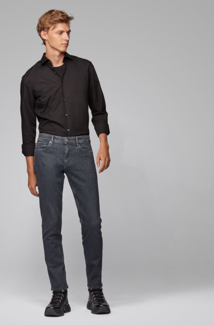 Extra-slim-fit grey jeans in Italian stretch denim