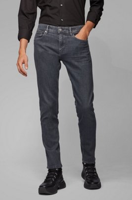 Extra-slim-fit grey jeans in Italian stretch denim, Dark Grey