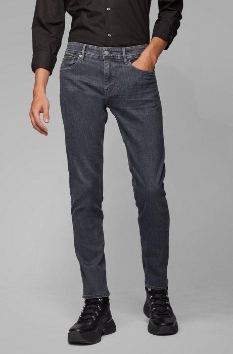 Jean Extra Slim Fit en denim stretch italien gris, Anthracite