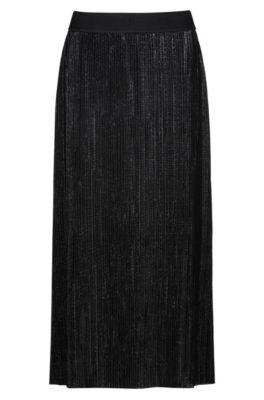 Jupe plissée mi-longue en jersey brillant, Noir