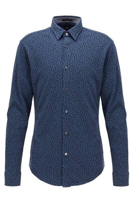 Slim-Fit Hemd aus Baumwoll-Jersey mit Blätter-Print, Dunkelblau