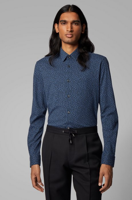 Slim-fit shirt in cotton jersey with leaf print, Dark Blue