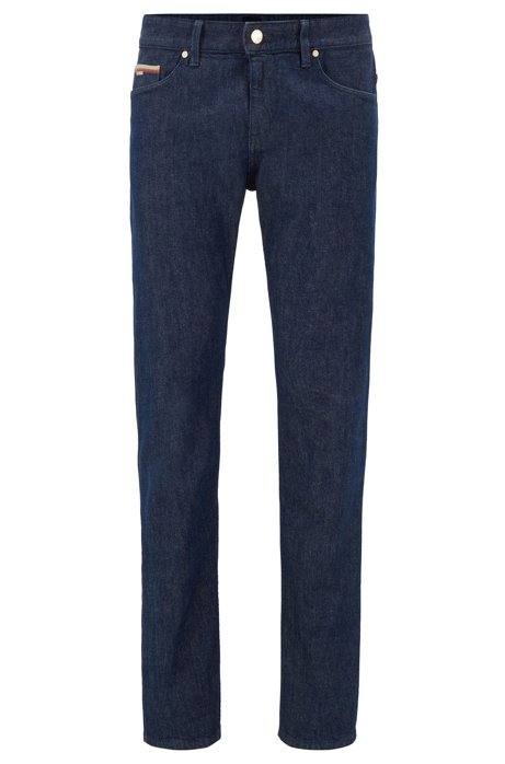 Jeans slim fit in denim elasticizzato italiano con cimosa, Blu scuro