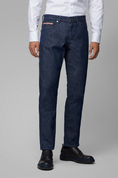 Slim-fit jeans in Italian selvedge stretch denim, Dark Blue